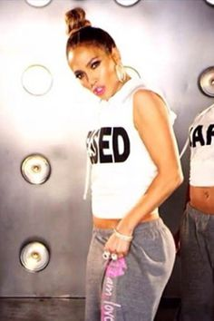 Jennifer Lopez wearing Peace Love World Simply Blessed Pima Antique White Sleeveless hoodie tee Peace Love World I am Passion 2L Cozy Heather Fleece Pants