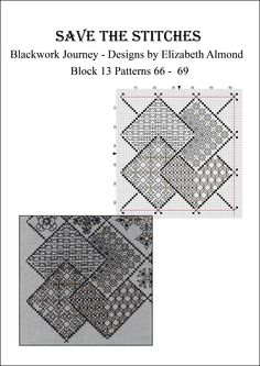 Block 13 'Save the Stitches' - free project from Blackwork Journey by Liz Almond www.blackworkjourney.co.uk