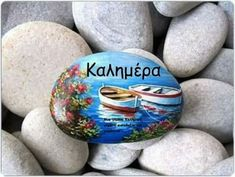 Hand painted stone with two fishing boats ! A great handmade painted stone from me! Is painted on a smooth sea stone which i have collected Mais Pebble Painting, Pebble Art, Stone Painting, Stone Crafts, Rock Crafts, Pebble Stone, Stone Art, Art Pierre, Rock And Pebbles