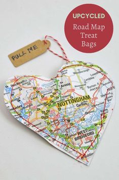 I love working with maps and personalized crafts, for Valentine's day I have made some lovely map hearts treat bags by upcycling old maps. This one is made with an old road map. #valentinecrafts Sewing Projects For Kids, Diy Craft Projects, Sewing Crafts, Vintage Valentines, Valentine Crafts, Homemade Crafts, Crafts To Make, Map Crafts, Heart Map