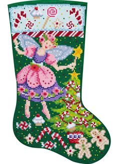 Bucilla Gem Dots Sugarplum Fairy Christmas Craft Facet Art Stocking Kit 89320E