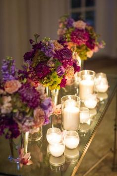 Floral with romantic candles || @Kimberly Peterson Peterson Kalmbach