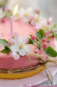 Strawberry Bavarian Birthday Cake
