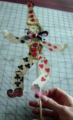 Clown Paper Doll, made with standard playing cards.