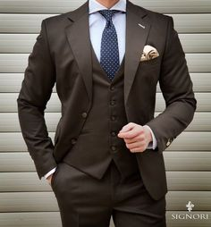 If people are going to stare make sure your suit is worth their time.   If people are going to stare make sure your suit is worth their time. Mens Fashion Suits, Mens Suits, Men's Fashion, Fashion Menswear, Brown Suits For Men, Suit Combinations, Style Masculin, Designer Suits For Men, Mens Attire
