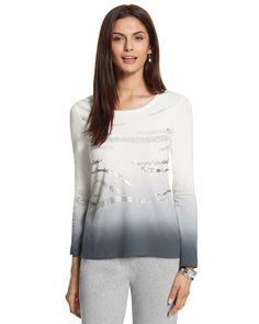 Chico's Women's Zenergy Long Sleeve Jana Ombre Sequin Tee