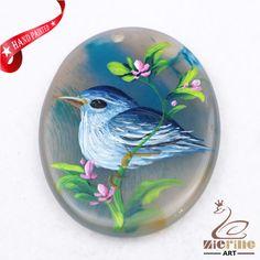 Hand Painted Bird Agate Slice Gemstone Necklace Pendant Jewlery D1708 1253 #ZL #Pendant