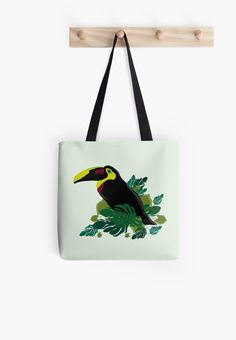 Toucan illustration by VanGalt    #toucan , #bird , #tropical , #leaves , #illustration,  #cartoon , #bag , #totebag