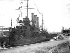 Damaged Russian #cruiser in the bay of Port Arthur. Note the damages after the battle with Japanese fleet