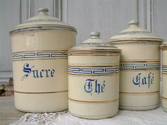 Vintage french enamel kitchen canister set. Ivory by Chanteduc