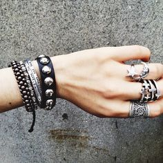 stacked jewelry.