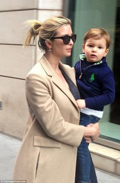 Laid back style: Ivanka, who gave birth to her third child Theodore James in March, left h...