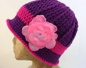 Crochet, Plum Purple and Pink Downton Abbey Inspired, Cloche Bucket Hat w/ Light Pink, Detachable Flower Clip for Women, Tweens, Teens
