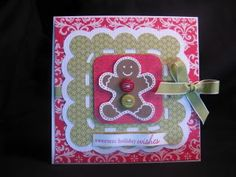 """Gingerbread Man Cricut Christmas Card """"Sweetest Christmas Wishes"""""""
