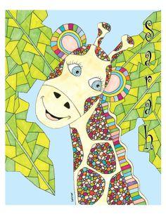 Giraffe Children's Art Print