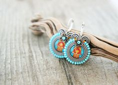 Hamsa earrings light blue lucky hand earrings rad hamsa by pUkke