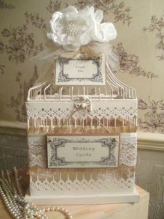 Vintage Style Love Bird Birdcage Wedding Card Post Box Lace & Pearl Card Holder
