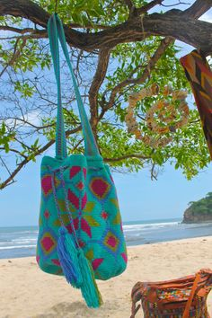 turquoise blue mochila boho beach bag <3