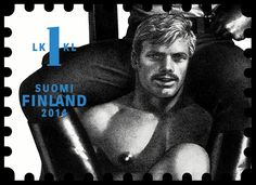 Tom of Finland -postimerkki.| Stamps designed as a tribute to homoerotic artist and gay icon Touko Laaksonen -- also known as Tom of Finland -- went on sale Monday. According to the postal service company Posti, the risqué stamps are the country's biggest seller ever, with pre-orders made in 178 different countries. The stamps, which hold pride of place in the newly-opened postal museum in Tampere, attracted a long queue of individuals eagerly anticipating the first day issues.
