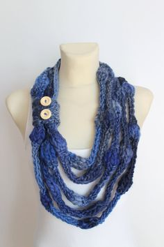 Blue Knit Scarf Birthday Gift Knit Necklace Womens Fashion