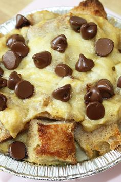 Chocolate Banana Bread Pudding Recipe - cubed French bread in a rich custard with bananas and chocolate chips