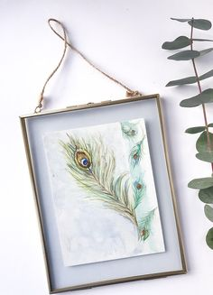 Peacock Feather / 'Elegance' Painting Art / Watercolor on 19.5 cm X 14.5 cm Paper /