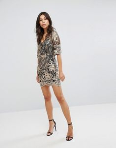 TFNC Sequin Midi Dress With Scalloped Hem And Sleeve 781536ec9