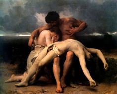 The First Mourning ~ William-Adolphe Bouguereau - 1888  Adam & Eve mourn the death of Abel