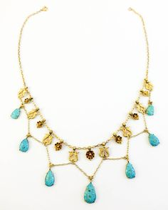 Turquoise and Gold Necklace - 1920s image 2