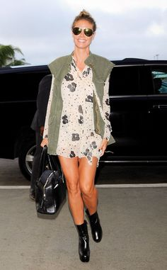 Heidi Klum from The Big Picture: Today's Hot Pics  The model makes her own runway while curbside at LAX.