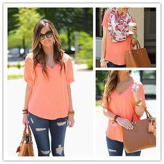 Summer Casual Womens Blouse Short Sleeve Chiffon Shirt Sexy V-Neck T-shirt Tops