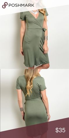 Olive Wrap Dress Adorable wrap dress in olive. Great for work or a night out! This jersey knit wrap dress features short sleeves and a v-neckline. 95% rayon / 5% spandex. Dresses