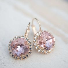 Bridal earrings Wedding jewelry Vintage Light peach by NotOneSparrow: