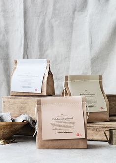 Packaging Design Knuthenlund Organic Flour designed by Wunsch A Moving Experience I've found a cool Bakery Packaging, Cookie Packaging, Tea Packaging, Food Packaging Design, Pretty Packaging, Packaging Design Inspiration, Brand Packaging, Packaging Ideas, Simple Packaging