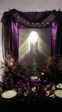 Goddess Temple dressed for Samhain, Cerridwen Glastonbury Town, Glastonbury England, United Kingdom Countries, Pagan Festivals, Temple Dress, Altars, Samhain, Wiccan, Full Moon