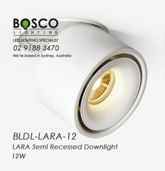 The semi recessed downlight features Black or White powdercoated aluminium housing, offers 355 degree rotation and 80 degree tilt. Recessed Downlights, Luminous Flux, Reception Areas, Retail Shop, Light Up, Galleries, Commercial, Shops, Led