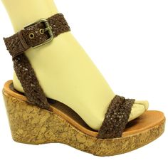 Kravings by Klogs Womens Jagger Leather Wedge Sandals Coffee 8 M