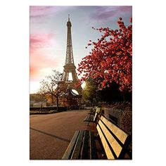 Modern Canvas Wall Art Paris Eiffel Tower Wall Decal Canvas PrintsFramed Landscape Canvas PhotoEasy Hanging OnInterior Room Wall Decoration *** You can get more details by clicking on the image.Note:It is affiliate link to Amazon.