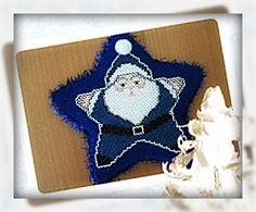 Cross stitch and felt santa star ornament