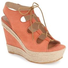 """Andre Assous 'Cassie' Lace-Up Espadrille Wedge Sandal, 4 1/2"""" heel"""