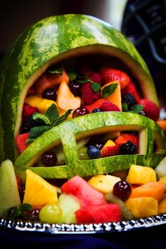 Football helmet fruit salad, perfect for a healthy alternative for the snack bar!