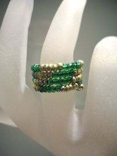 Dark Green & Gold Ring Memory Wire Expandable Glass Rocaille seed bead ring by JulieDeeleyJewellery on Etsy UK Ring Size L US Ring Size 6 Bead Jewellery, Seed Bead Jewelry, Seed Beads, Beaded Jewelry, Fuse Beads, Memory Wire Rings, Memory Wire Jewelry, Memory Wire Bracelets, Beaded Rings