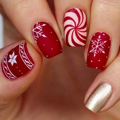 Red and White Candy cane Christmas nails --- 12 Newest Christmas Nail Art Ideas To Try - SoNailicious