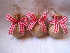 Rustic burlap ornaments ,Christmas tree ornaments , burlap balls ,decorative…