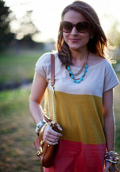Summer trends: cat-eye shades, stacked bracelets, coral, turquoise, colorblock dress.