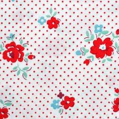 cute retro style fabric - Scattered Flowers in Red from lecien