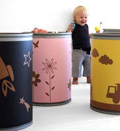 Contenedores de cartón para guardar juguetes : Originales contenedores de cartón reciclado para guardar los juguetes de los niños. Práctico, decorativo y ecológico, fabricado por Pompomuk Hacen envíos a