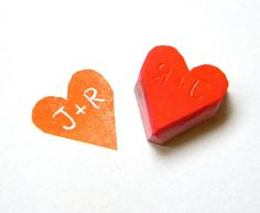 Personalized rubber stamp heart - made to order with your initials. $6.50, via Etsy.