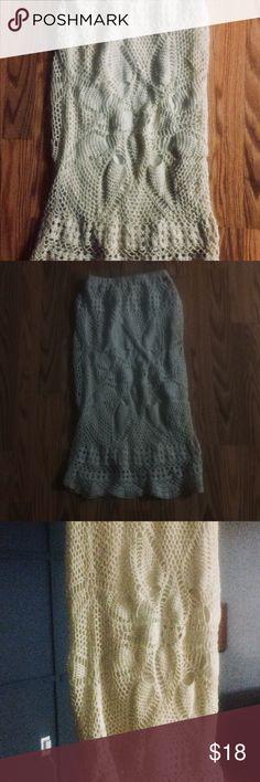 Nordstrom by Volcom crochet midi skirt Volcom crochet midi skirt from Nordstrom, elastic waist, true to size, size s, great condition Nordstrom Skirts Midi