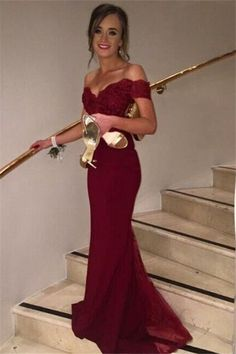 Off-shoulder mermaid embroidery floor-length long prom dresses,evening dresses